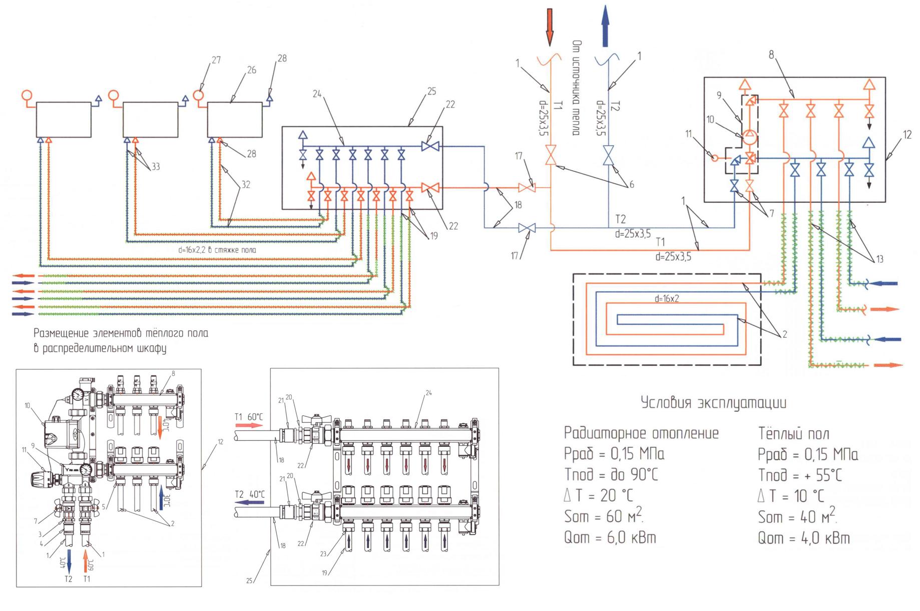 Схема отопления теплым полом и радиаторами 100м2